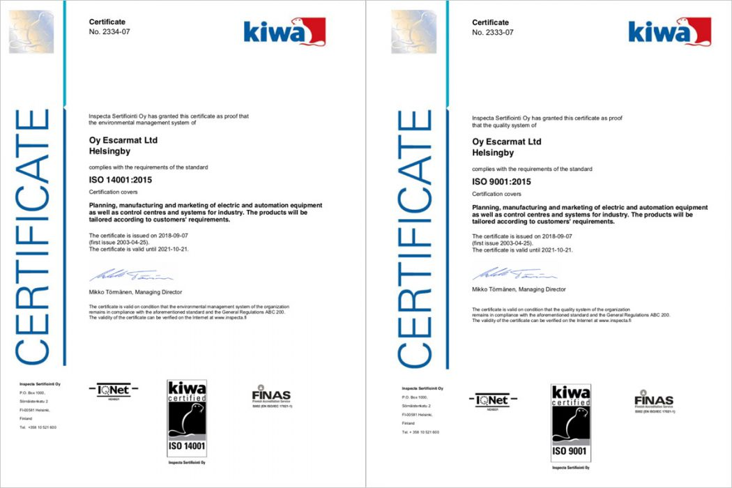 Escarmat Is an ISO 9001:2015 And ISO 14001:2015 Certificated Company